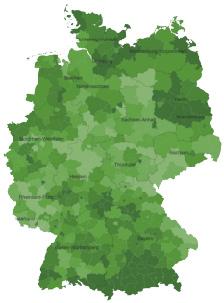 vdpExpertise-Deutschlandkarte Erlösquoten aus dem Bereich Wohnen
